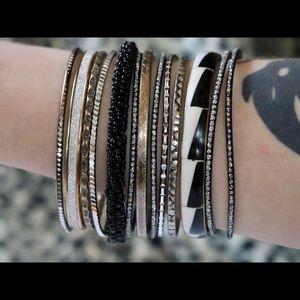 12x Bangle Vintage Bracelets Bead Stripe Silver !